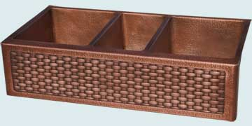 Kitchen Sinks - Copper Kitchen Sinks- Woven Aprons Copper Kitchen Sinks - Random Hammered Triple W/ Woven Apron # 5134