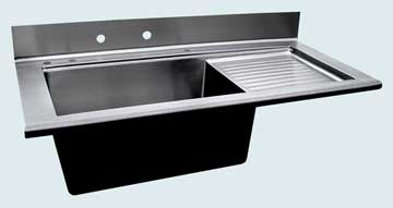 Kitchen Sinks - Stainless Kitchen Sinks- Backsplashes Stainless Kitchen Sinks - Flush Mount W/ Splash,Drainboard, & Cuttingboard Track # 3696