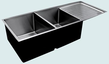 Kitchen Sinks - Stainless Kitchen Sinks- Drainboards Stainless Kitchen Sinks - Undermount Double With Drainboard # 3697