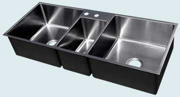Kitchen Sinks - Stainless Kitchen Sinks- Custom Kitchen Sinks Stainless Kitchen Sinks - 3 Compartment w Veggie Sink # 3701