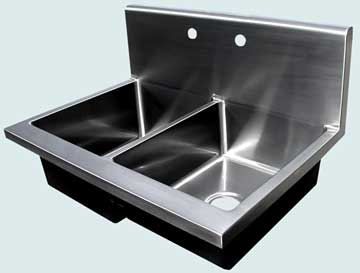 Kitchen Sinks - Stainless Kitchen Sinks- Backsplashes Stainless Kitchen Sinks - Flush Backsplash With Rounded Top # 3702