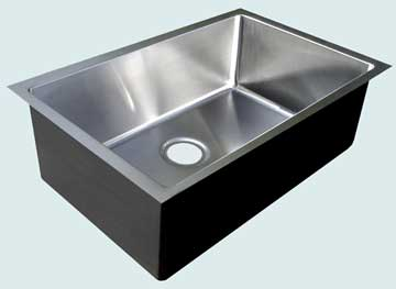Kitchen Sinks - Stainless Kitchen Sinks- Custom Kitchen Sinks Stainless Kitchen Sinks - Undermount Basin With Drain In Rear Center # 3718