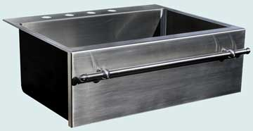 Kitchen Sinks - Stainless Kitchen Sinks- Towel Bars Stainless Kitchen Sinks - Single Drop-In With Towel Bar # 3720