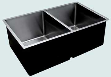 Kitchen Sinks - Stainless Kitchen Sinks- Custom Kitchen Sinks Stainless Kitchen Sinks - Extra Large Undermount W/ Two Equal Bowls # 3721