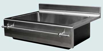 Kitchen Sinks - Stainless Kitchen Sinks- Backsplashes Stainless Kitchen Sinks - Flush Mount With Splash & Towel Bar # 3722