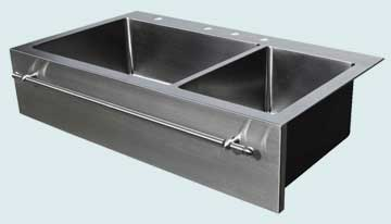 Kitchen Sinks - Stainless Kitchen Sinks- Towel Bars Stainless Kitchen Sinks - Double Drop-In With Towel Bar # 3732