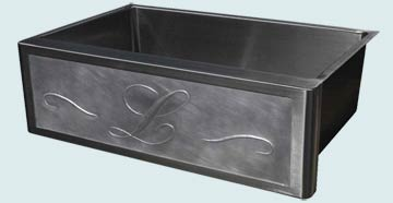 Kitchen Sinks - Stainless Kitchen Sinks- Repousse Aprons Stainless Kitchen Sinks - Repousse L With Scrolls # 3733