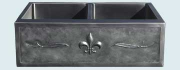 Kitchen Sinks - Stainless Kitchen Sinks- Repousse Aprons Stainless Kitchen Sinks - Repousse Fleur-de-Lis With Double Scrolls # 3739