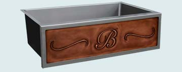 Kitchen Sinks - Stainless Kitchen Sinks- Repousse Aprons Stainless Kitchen Sinks - Repousse B & Scrolls In Copper # 3747