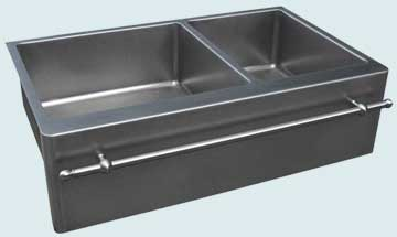 Kitchen Sinks - Stainless Kitchen Sinks- Towel Bars Stainless Kitchen Sinks - Double With Matte Finish & Towel bar # 3749