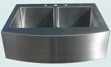 Kitchen Sinks - Stainless Kitchen Sinks- Special Aprons Stainless Kitchen Sinks - Curved Apron On Two Bowl Drop In # 3759