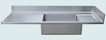 Countertops - Stainless Countertops- Straight Stainless Countertops - Woven Apron with Sink & Drainboard # 2731