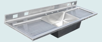 Kitchen Sinks - Stainless Kitchen Sinks- Extra Large Sinks Stainless Kitchen Sinks - Double Drainboard Kitchen Center # 2988