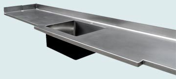 Countertops - Stainless Countertops- Straight Stainless Countertops - Matte Finish W/ Extended Front # 3344