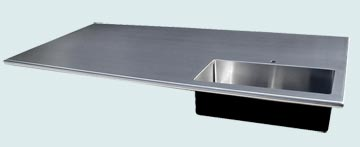 Countertops - Stainless Countertops- Island Stainless Countertops - Corner Sink with Bullnose Edges  # 3351