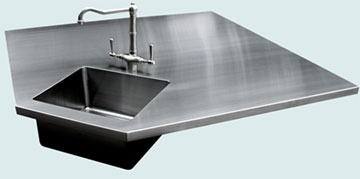Countertops - Stainless Countertops- Island Stainless Countertops - 5-Sides with Integral Bar Sink # 3354
