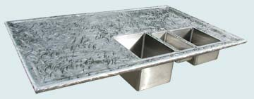 Countertops - Stainless Countertops- Island Stainless Countertops - Triple Sink & Butterfly Finish # 4773