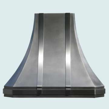 Custom Zinc Range Hoods French Sweep 3284