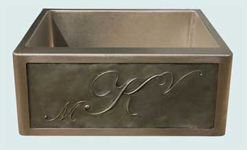 Kitchen Sinks - Stainless Kitchen Sinks- Repousse Aprons Stainless Kitchen Sinks - 3 Initial M K V Repousse # 2951