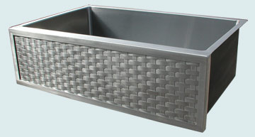 Kitchen Sinks - Stainless Kitchen Sinks- Woven Aprons Stainless Kitchen Sinks - Deep Custom Stainless Weave Farm Sink # 3710