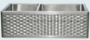 Kitchen Sinks - Stainless Kitchen Sinks- Woven Aprons Stainless Kitchen Sinks - Custom Undermount Stainless Farm Sink with Radius End Woven Apron # 3727