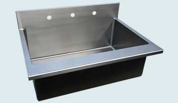 Kitchen Sinks - Stainless Kitchen Sinks- Backsplashes Stainless Kitchen Sinks - Flush Backsplash and Eased Front Edge # 4041