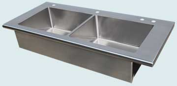 Kitchen Sinks - Stainless Kitchen Sinks- Extra Large Sinks Stainless Kitchen Sinks - Flush Style With Bullnose Front # 4046