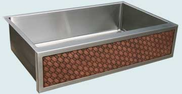 Kitchen Sinks - Stainless Kitchen Sinks- Woven Aprons Stainless Kitchen Sinks - Stainless Sink with Copper Diagonal Weave - Single Compartment # 4585