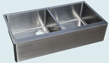 Kitchen Sinks - Stainless Kitchen Sinks- Custom Farmhouse Sinks Stainless Kitchen Sinks - Double-Bowl W/ Apron # 4747