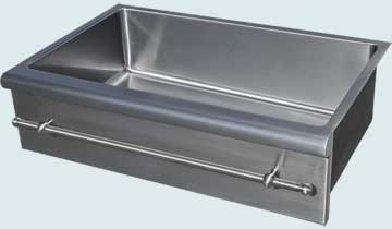 Kitchen Sinks - Stainless Kitchen Sinks- Special Aprons Stainless Kitchen Sinks - Bullnose Apron W/ Towel Bar # 4815