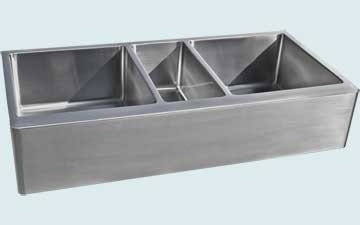 Kitchen Sinks - Stainless Kitchen Sinks- Extra Large Sinks Stainless Kitchen Sinks - Long Triple Bowl # 4823