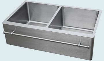 Kitchen Sinks - Stainless Kitchen Sinks- Towel Bars Stainless Kitchen Sinks - Equal Bowls & Towel Bar # 4880