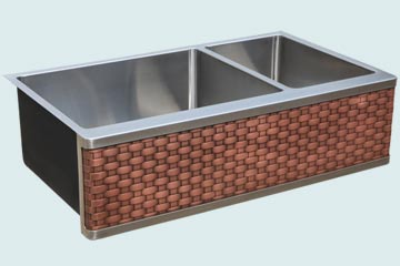 Kitchen Sinks - Stainless Kitchen Sinks- Woven Aprons Stainless Kitchen Sinks - 2 Compartment Stainless Farm Sink with Straight Weave Copper Apron # 4887