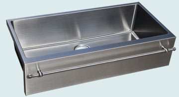 Kitchen Sinks - Stainless Kitchen Sinks- Towel Bars Stainless Kitchen Sinks - Single Flush Mount W/ Towel Bar # 4973