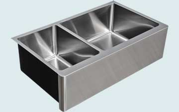 Kitchen Sinks - Stainless Kitchen Sinks- Custom Farmhouse Sinks Stainless Kitchen Sinks - Double W/ Apron # 5145