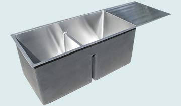Kitchen Sinks - Stainless Kitchen Sinks- Drainboards Stainless Kitchen Sinks - Low Profile Drain Board # 5240