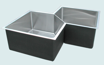 Kitchen Sinks - Stainless Kitchen Sinks- Custom Kitchen Sinks Stainless Kitchen Sinks - 5 Sided Bowls for Corner Cabinet # 5247