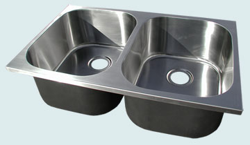 Kitchen Sinks - Stainless Kitchen Sinks- Custom Kitchen Sinks Stainless Kitchen Sinks - 2-Compartment Large Radius Replacement Sink # 5257