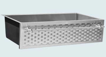 Kitchen Sinks - Stainless Kitchen Sinks- Woven Aprons Stainless Kitchen Sinks - Custom Stainless Weave with Towel Bar  # 5304