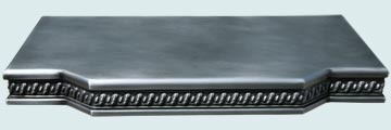 Countertops - Zinc Countertops- Straight Zinc Countertops - Embossed Edge Shelf W/ Braid Edge # 3042