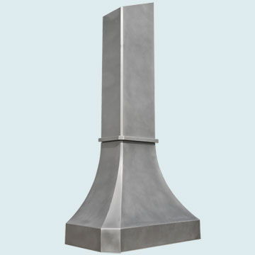 Hoods - Stainless Hoods- French Sweep Stainless Hoods - Matte Finish W/ Tall Band & Stack # 3045