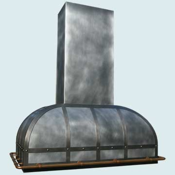 Custom Zinc Range Hoods Double Roll 3974