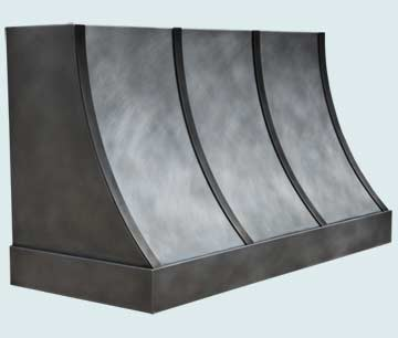 Hoods - Zinc Hoods- Sweep Front Zinc Hoods - Smooth Hood W/ Light Patina &amp; Darker Straps # 4730
