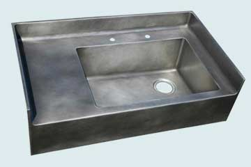 Kitchen Sinks - Zinc Kitchen Sinks- Backsplashes Zinc Kitchen Sinks - Alcove Apron Sink # 2983