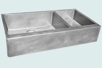 Kitchen Sinks - Zinc Kitchen Sinks- Custom Farmhouse Sinks Zinc Kitchen Sinks - Classic Double In Smooth Zinc # 3844