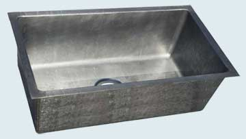 Kitchen Sinks - Zinc Kitchen Sinks- Custom Kitchen Sinks Zinc Kitchen Sinks - Reverse Hammered Undermount Basin # 4414