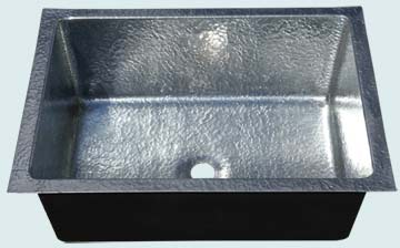 Bar Sinks - Zinc Bar Sinks- Bar & Prep Sinks Zinc Bar Sinks - Random Hammered Bar Sink W/ Semigloss # 4763