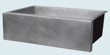 Kitchen Sinks - Zinc Kitchen Sinks- Custom Farmhouse Sinks Zinc Kitchen Sinks - All Smooth Farm House With Square Ends # 5189