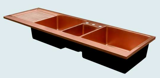 Kitchen Sinks - Copper Kitchen Sinks- Extra Large Sinks Copper Kitchen Sinks - 3 Compartment Kitchen Center W/ Drainboard # 3434