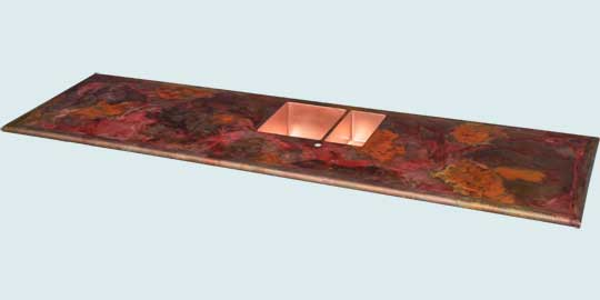 Countertops - Copper Countertops- Island Copper Countertops - Crackling Fire Old World W/ Double Sink # 4748